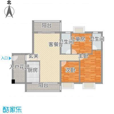 锦绣豪庭12.58㎡B1户型3室2厅2卫1厨
