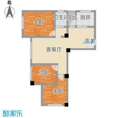 天悦国际公寓15.42㎡B户型3室2厅1卫