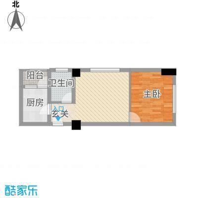 天悦国际公寓53.57㎡G户型1室1厅1卫
