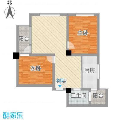 天悦国际公寓84.38㎡D户型2室2厅1卫
