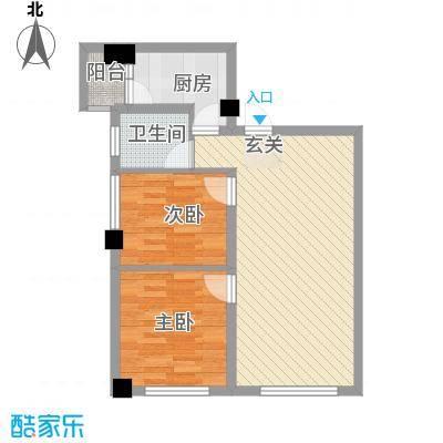 天悦国际公寓71.65㎡J户型2室2厅1卫