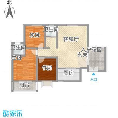 鼎盛・帕堤欧12.87㎡T户型3室2厅2卫1厨