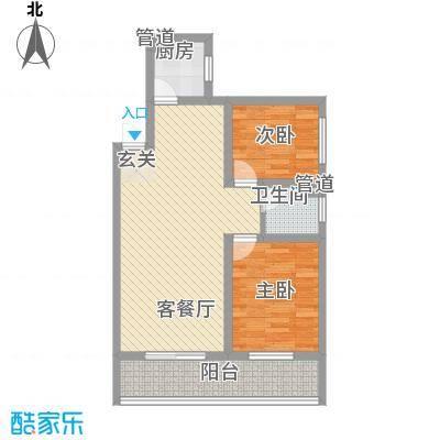 东城100(微笑城堡)84.00㎡东城100F2户型2室2厅1卫1厨