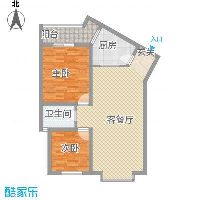 兴发城东逸景76.30㎡F户型2室2厅1卫1厨