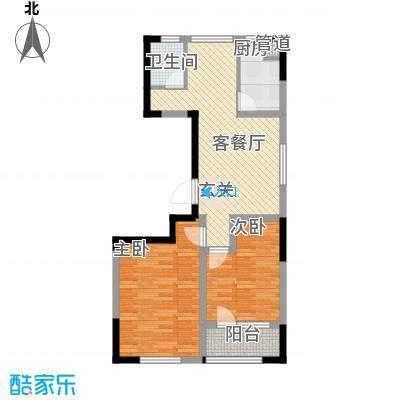 朗诗国际街区87.00㎡B2+户型2室2厅1卫1厨