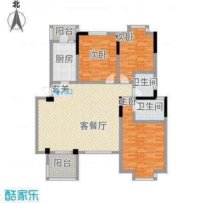 小岛花园城四期F1户型3室2厅2卫1厨