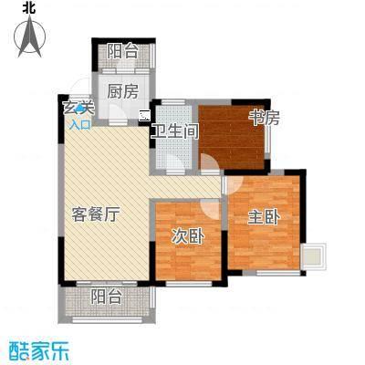 香榭国际86.00㎡P户型3室2厅1卫1厨
