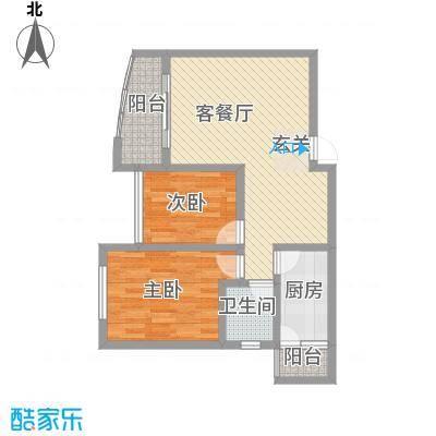 富临晶蓝湖81.70㎡1号公馆户型2室2厅1卫1厨