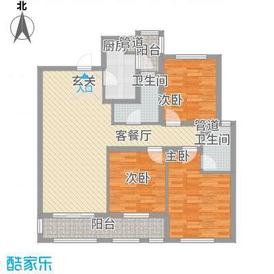 国宝星月湾115.00㎡12、17号楼A户型3室2厅2卫1厨