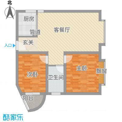 兴发城东逸景74.00㎡F1户型2室2厅1卫1厨