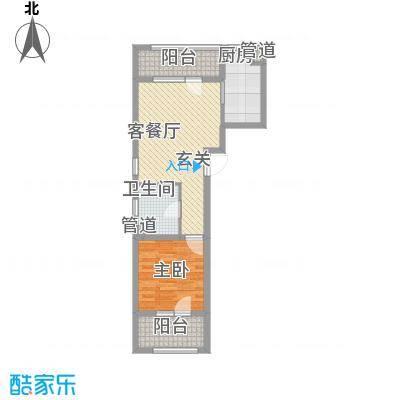 朗诗国际街区65.00㎡A2+户型1室1厅1卫1厨
