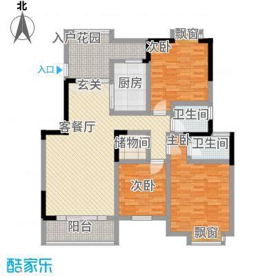 小岛花园城四期C户型3室2厅2卫1厨