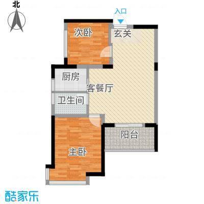 江南经典花园85.83㎡1号楼3层B19户型2室2厅1卫1厨