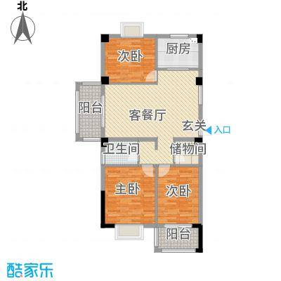 河畔花城14-2-102户型3室2厅1卫