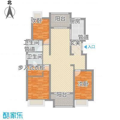 保利紫荆公馆145.00㎡一期9#、10#标准层c4户型3室2厅2卫1厨
