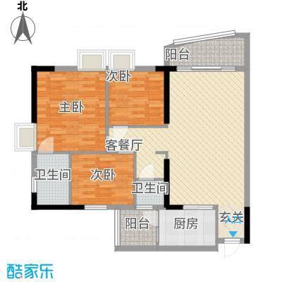 财富名门15.00㎡A5、C5、D5户型3室2厅2卫1厨