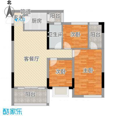 乾城美景76.76㎡12/13栋02/0户型3室2厅2卫1厨