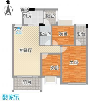 乾城美景88.80㎡6栋1单元02、2单元0户型3室2厅1卫1厨