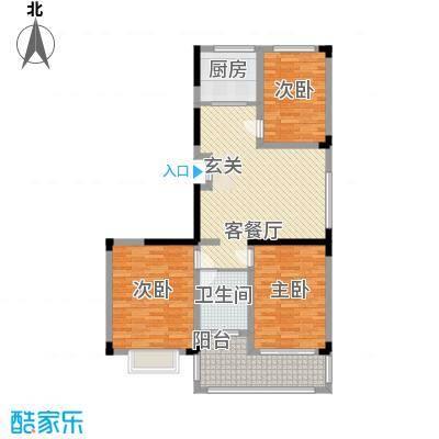 印湖山庄12.14㎡项目标准层6#K户型3室2厅2卫1厨