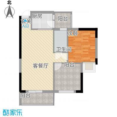 ��荟64.52㎡b栋01单位户型1室2厅1卫1厨