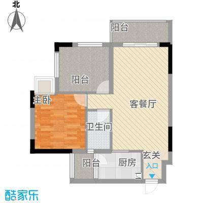 ��荟66.00㎡b栋03单位户型1室2厅1卫1厨