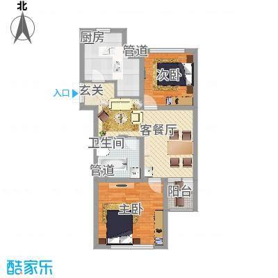 锦绣蓝湾87.87㎡B4/B5号楼C户型2室1厅1卫-副本