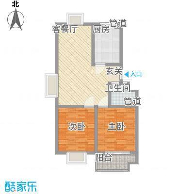 信佳花园二期住宅标准层B户型2室2厅1卫1厨-副本