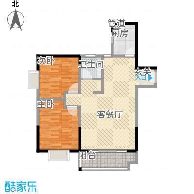 恒丰天湘华庭13号A4户型2室2厅1卫