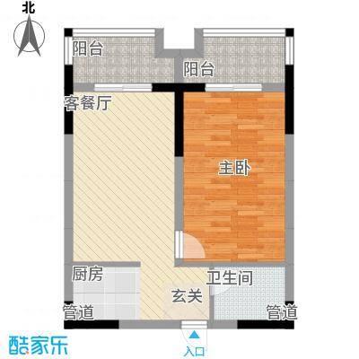 恒丰天湘华庭17号B3户型1室2厅1卫