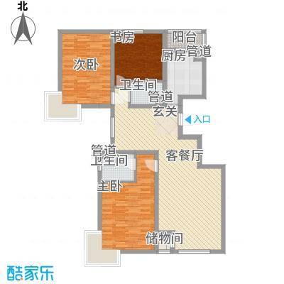 凯荣国际花园13.82㎡F户型3室2厅1卫1厨