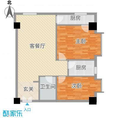 领汇乐城114.45㎡E户型2室1厅1卫1厨