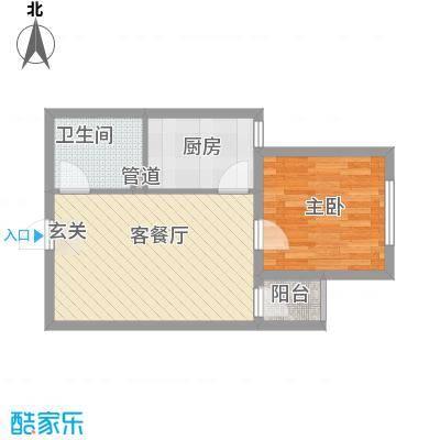 新青年汇56.30㎡1#楼1、3单元D2户型1室1厅1卫1厨