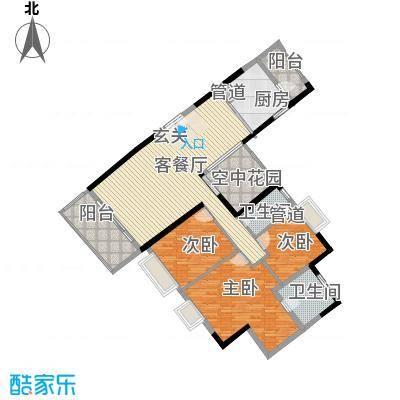 锦城南苑156.13㎡C栋01户型3室2厅2卫1厨