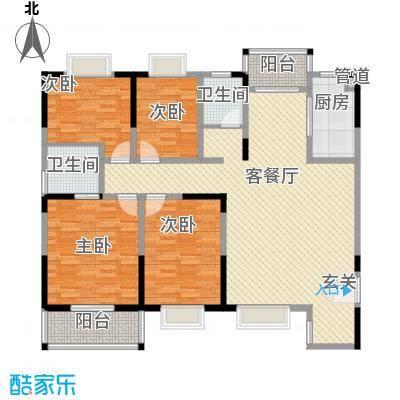 恒丰天湘华庭16号B1户型4室2厅2卫