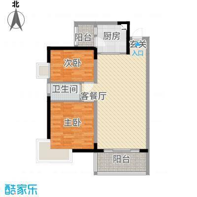 金房玲珑湾A3户型2室2厅1卫