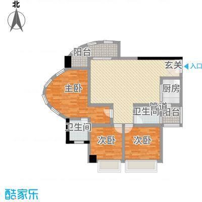 亿海湾123.00㎡1栋6-14层f户型3室2厅2卫1厨