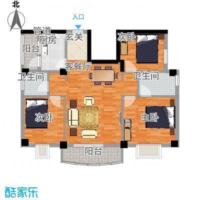 翔鹭花城新生活5号楼户型3室2厅2卫1厨-副本