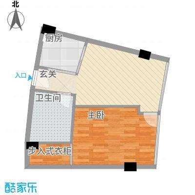 同方国际广场E户型1室2厅1卫1厨