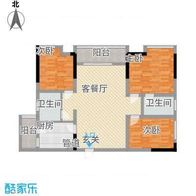 金桥商贸名邸121.10㎡户型3室2厅2卫1厨