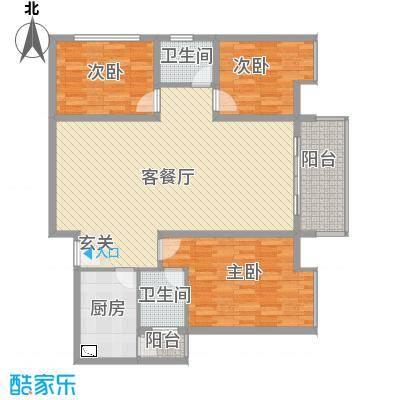金桥商贸名邸127.38㎡户型3室2厅2卫1厨