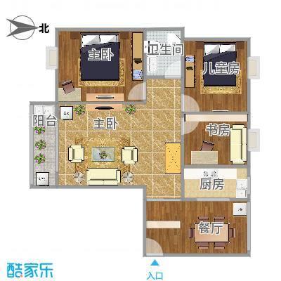 曼哈顿103方A4户型三室两厅-副本