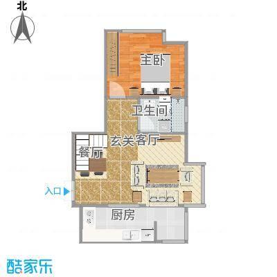家立方单层66.2㎡三室两厅两卫复式-副本