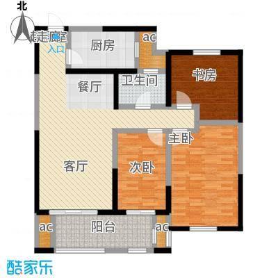 城置金色年华105.00㎡高层C户型三室两厅一卫 105㎡户型3室2厅1卫-副本
