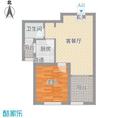 中国水电海赋外滩49.02㎡3-B1户型1室1厅1卫1厨