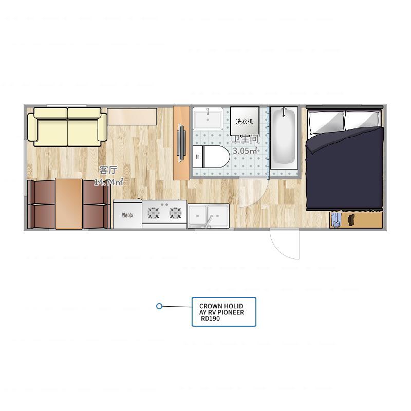 皇冠假日旅居pioneerrd190美式拖挂房车室内户型图