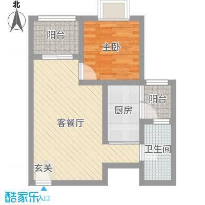 苹果城二期桂园53.34㎡C3副本户型1室1厅1卫