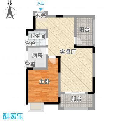 盛业清华园85.00㎡17#K2户型1室1厅1卫1厨