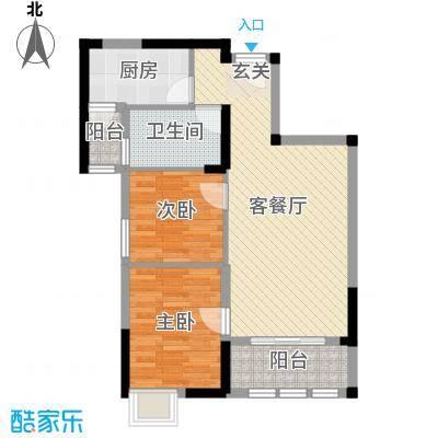 武汉锦绣香江78.00㎡A3户型2室2厅1卫1厨