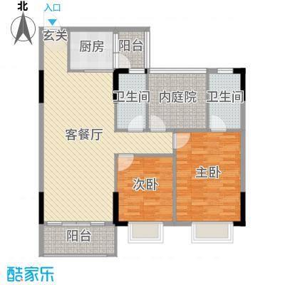 富海・鼎湖假日100.00㎡D4/D5/D6/D7/E1座04户型2室2厅2卫1厨