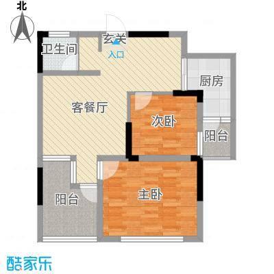 坤龙西城国阙82.96㎡D户型2室2厅1卫1厨